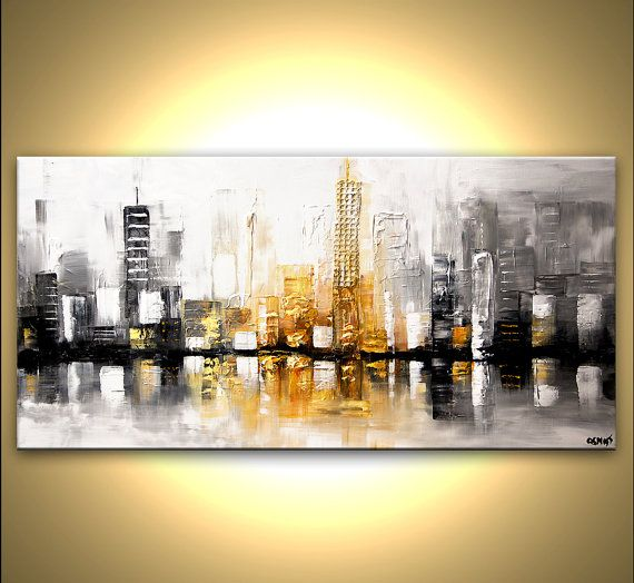 Modern 48 x 24 ORIGINAL City Skyscrapers Acrylic by OsnatFineArt