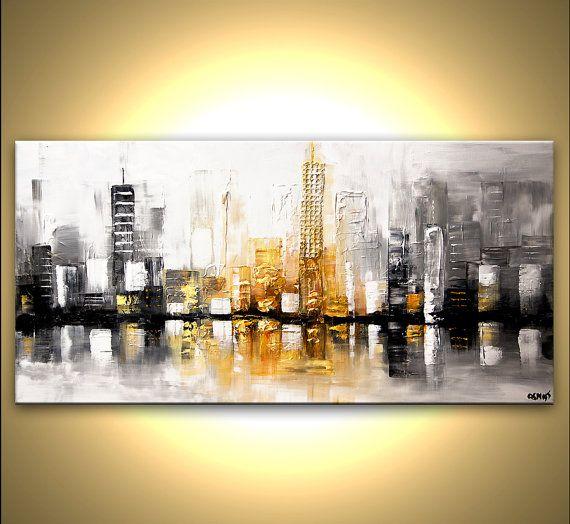 Confeccionar cuadro de Osnat  Título Vista a la ciudad   Tamaño: 48 x 24 x1.5 listo para colgar  Medio: Acrílico sobre un lienzo envuelto, espátula  Colores: Blanco, negro, gris, óxido, ocre amarillo, amarillo pálido    La pintura estará lista para colgar (hardware y colgante instrucción serán suministrados). La pintura será pintada en un lienzo envuelto con un cuchillo de paleta. El lienzo será libre de grapas laterales. Usted no necesita marco que - sólo colgar. Se aplicará la capa final…