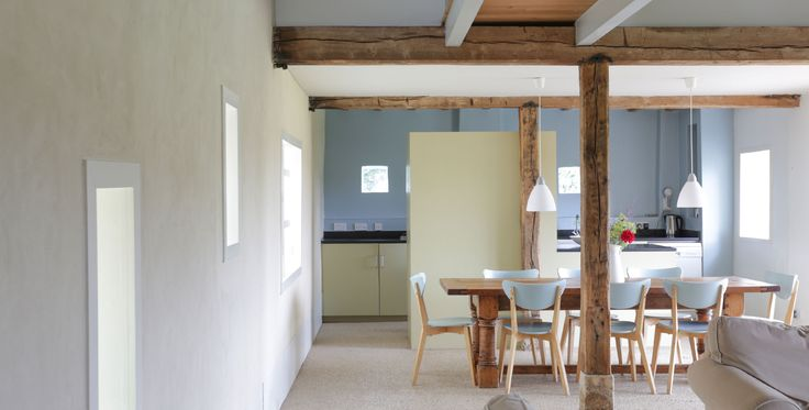 Image of the dining and kitchen area of Hall Barn, Norfolk. Hire it at http://quakerbarns.co.uk/hall-barn #beautiful #home