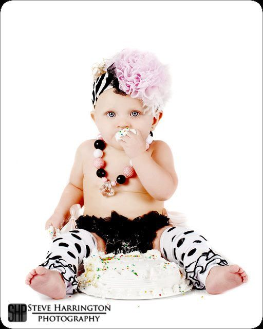 Birthday Girl Set, Cake Smash Outfit, First Birthday Photos - Light Pink, Black and White Polka Dots. $39.99, via Etsy.