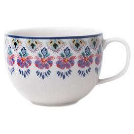 "Porcelain mug with a Southwestern-inspired floral border.  Product: Set of 4 mugsConstruction Material: PorcelainColor: White and multiFeatures: In-glaze decalDimensions: 5.5"" H x 3.5"" DiameterCleaning and Care: Microwave and dishwasher safe"