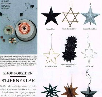 Black flat folded star garland and Black pleated stars in the weekly Magazine ALT for damerne no 45 2013. Made by stjernestunder.dk #Stars #Christmas #Origami