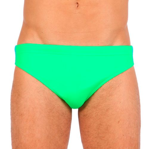 GREEN LYCRA LOW RISE SWIM BRIEF WITH LATERAL RAINBOW BANDS Green Lycra low rise swim brief featuring the three classic rainbow bands at lateral side. Elastic waistband with drawstring. Fully lined. Rubber Sundek logo stitched on back. COMPOSITION: 80% POLYAMIDE 20% ELASTANE. Lining: 100% POLYESTER.