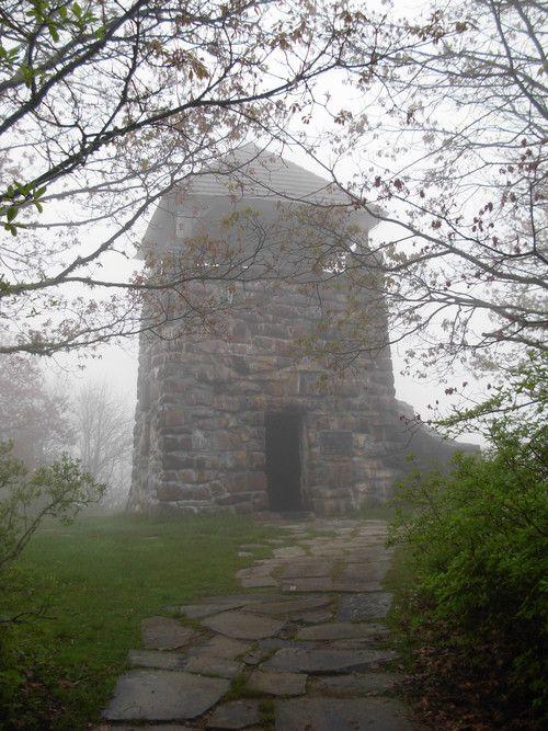 Wayah Bald Lookout Tower near Franklin, North Carolina. Camping.