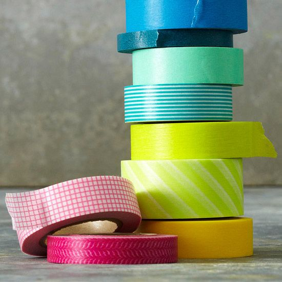 Use colorful tape to add personality to household items! Get 10 creative ideas here: http://www.bhg.com/decorating/budget-decorating/cheap/decorate-with-tape/#page=2