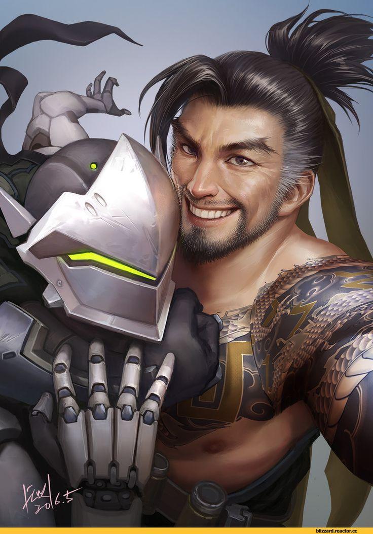 Blizzard,Blizzard Entertainment,фэндомы,Hanzo,Overwatch,Genji (Overwatch),Overwatch art,shawnfox520
