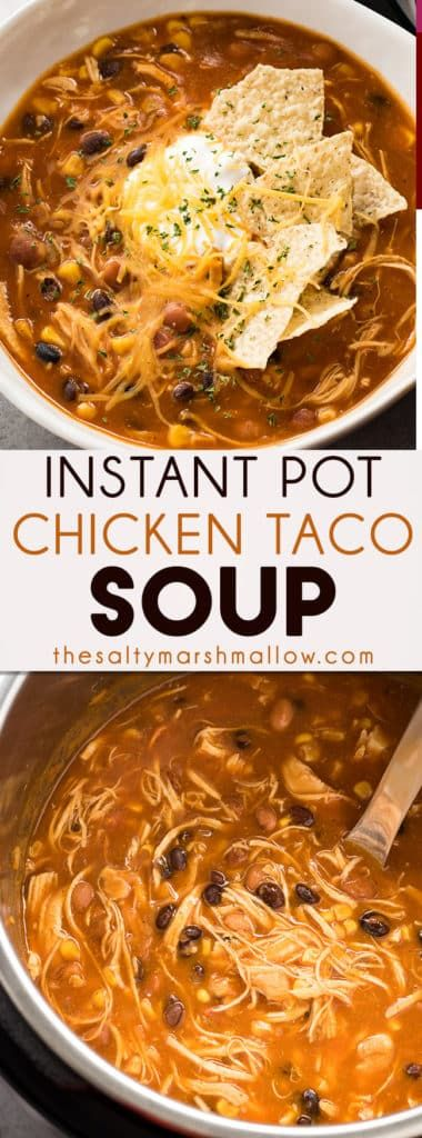 Instant Pot Chicken Taco Soup is a delicious Instant Pot soup recipe that's flavorful, healthy, and easy. Full of chicken, corn, black beans, and salsa!