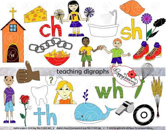 Teaching Digraphs Clipart Set (300 dpi) School Teacher Clip Art Reading Grammar Blends Clip Art on Etsy, $4.00
