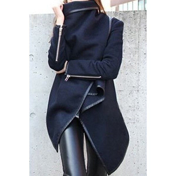 Stylish Long Sleeves Solid Color Asymmetric Wool Coat For Women, CADETBLUE, L in Jackets & Coats | DressLily.com