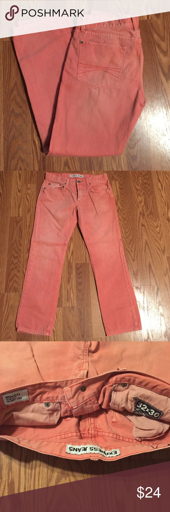 Express Men's Jeans Rocco Slim Fit skinny jeans size 32/30 (salmon) no ware or tear Express Jeans Skinny