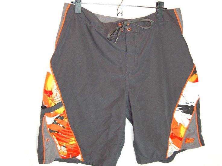 Nike Swim Shorts Boardshorts Size 34 Mens Gray Orange #Nike #BoardShorts