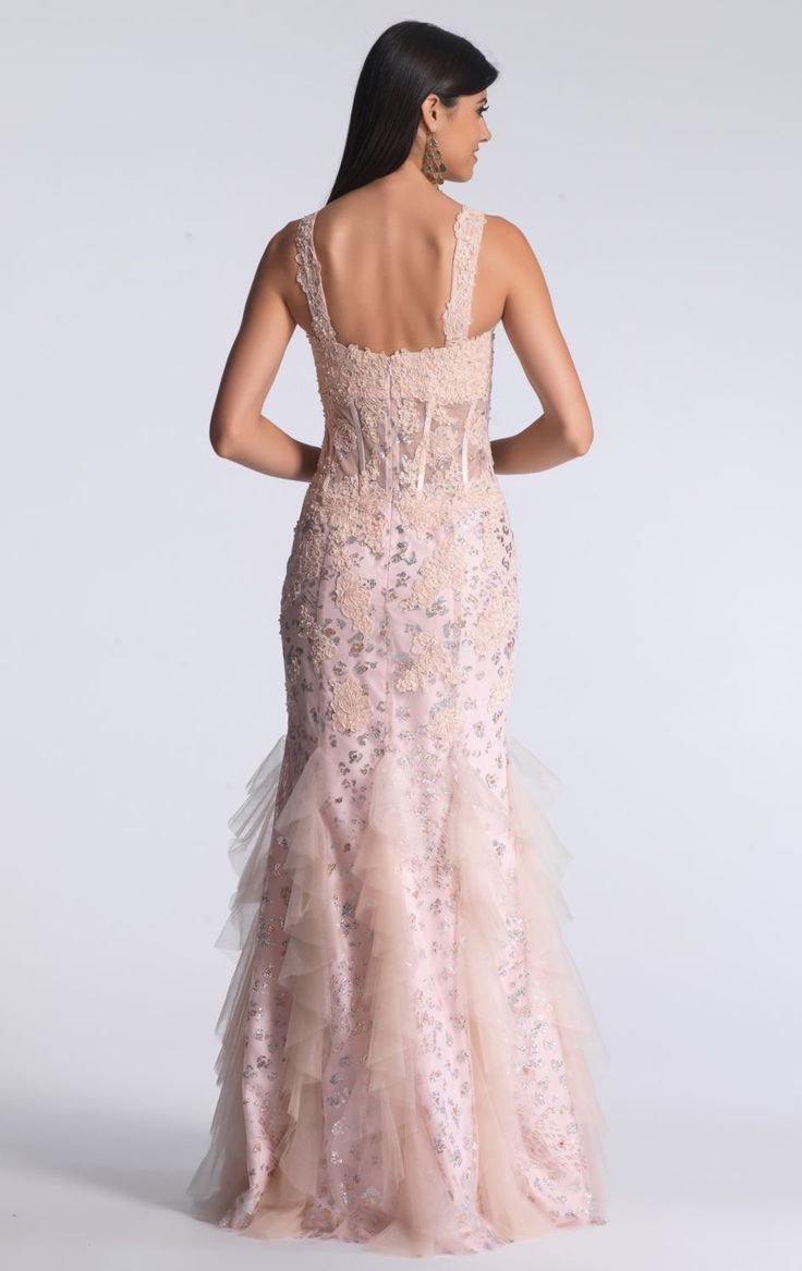 BB7120. New 'one of' exclusive Dave and Johnny ball gowns in store now. Blush soft mermaid with sweetheart neckline and mesh midriff. Take hold of your inner goddess in this romantic Dave and Johnny dress from New York. With its carefully arranged layers of lace and sensual silhouette, you will feel instantly enamored. Perfect for a special event or modern wedding.