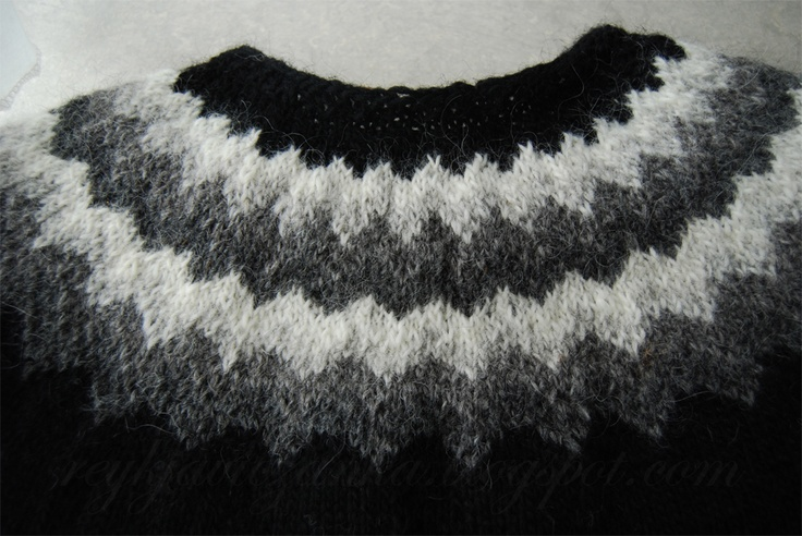 My first knitting project: lopapeysa, an Icelandic woolen vest.  http://reykjaviczanka.blogspot.com/2013/06/lopapeysa-is-ready.html