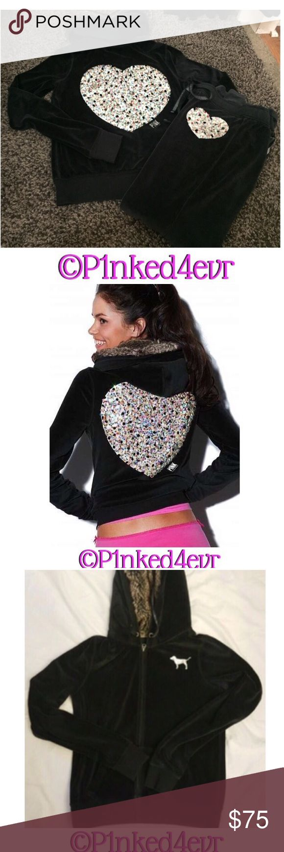 HTF Vintage VS PINK Fur lined Bling Heart Set HTF Vintage VS PINK Fur lined Bling Heart Set. Soft velour feeling fabric with a gorgeous large multi-colored bling heart on the back of the fur lined hoodie and also ok the thigh of the matching bottoms. LOVE PINK graphic on the butt of the sweats does show some wear, but nothing too major. No rips, stains, or tears. Both size small. ❌SELECTIVE TRADES FOR OTHER VS PINK WITH ESTABLISHED TRADERS ONLY- SEE TRADING RULES LISTING FOR DETAILS❌ PINK…