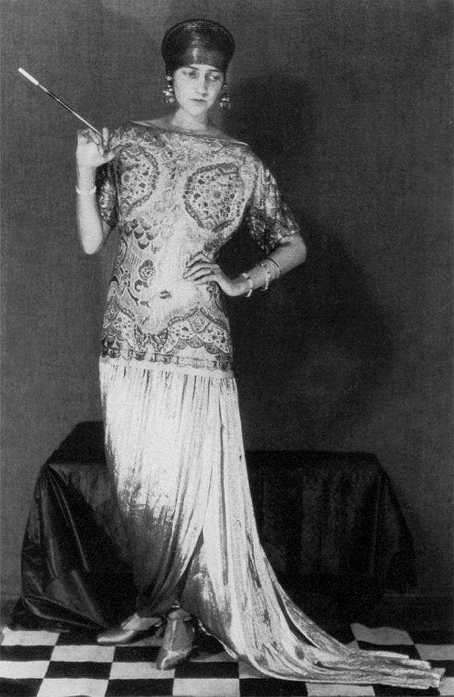 Peggy Guggenheim in a dress by Poiret, photo by Man Ray.