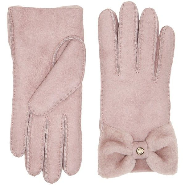 UGG Bow Waterproof Sheepskin Gloves (Dusk) Extreme Cold Weather Gloves ($155) ❤ liked on Polyvore featuring accessories, gloves, waterproof gloves, ugg, cold weather gloves, sheepskin gloves and bow glove