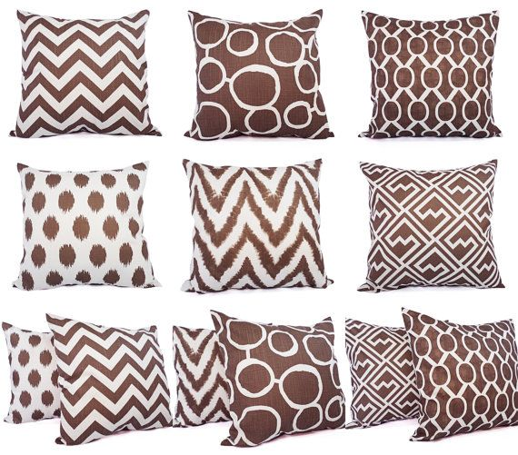 Two Brown and White Decorative Pillow Covers  by CastawayCoveDecor