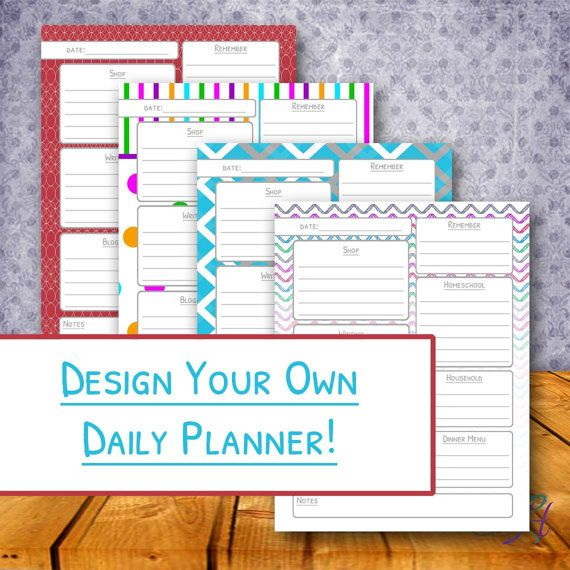 Design Your Own Printable Daily Planner - {The Perfect Day Planner} - Custom Printable Day Plan on Etsy, $5.00