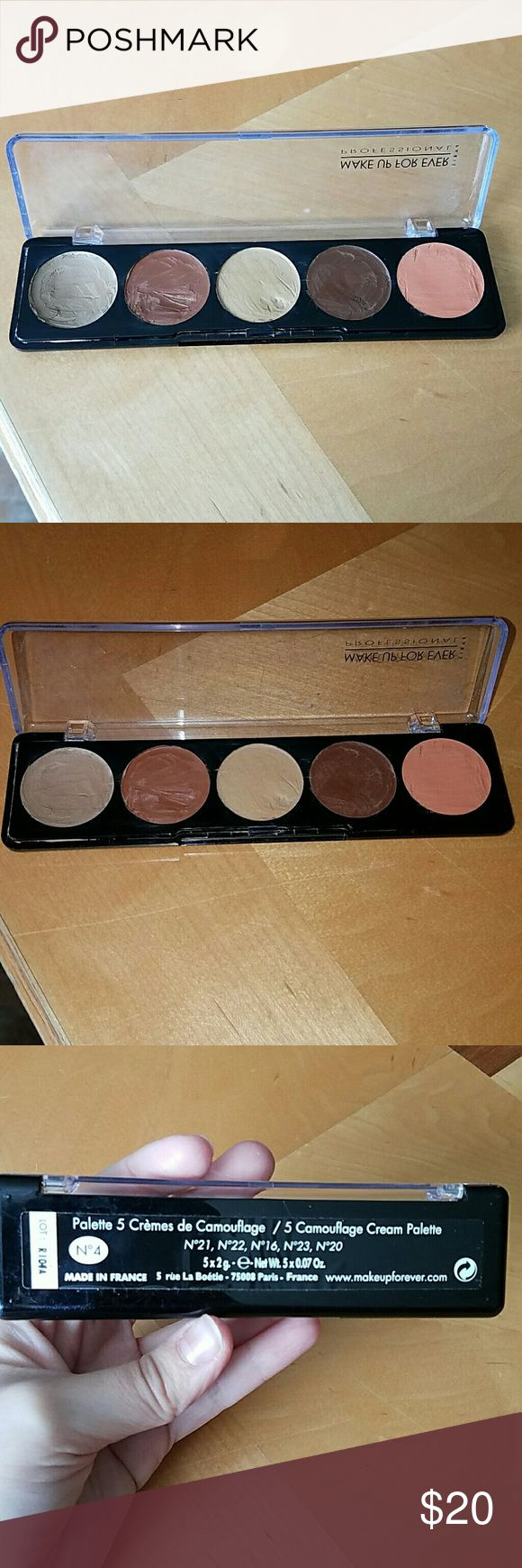 Makeup Forever Camouflage Cream Palette Deeper toned concealer palette from Makeup Forever. Only used for freelancing with clients, no personal use. Always used with sterile spatula and alcohol. Palette is still nearly full. Makeup Forever Makeup Concealer