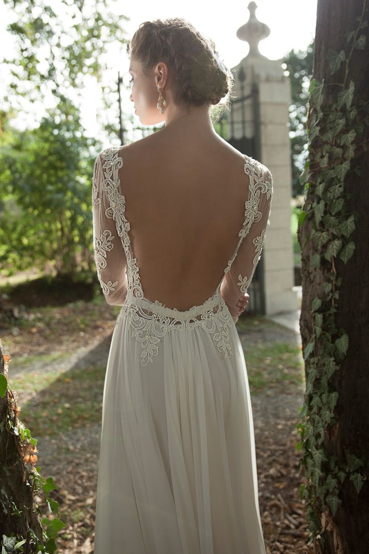 Backless wedding dress Boho Chic Modest Shabby Chic Vintage Ivory White