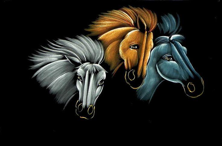 Wild Horses (Painting on Velvet Cloth - Unframed))