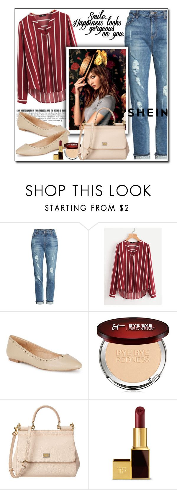 """Shein"" by polybaby ❤ liked on Polyvore featuring KUT from the Kloth, Maiden Lane, It Cosmetics, Dolce&Gabbana and Tom Ford"