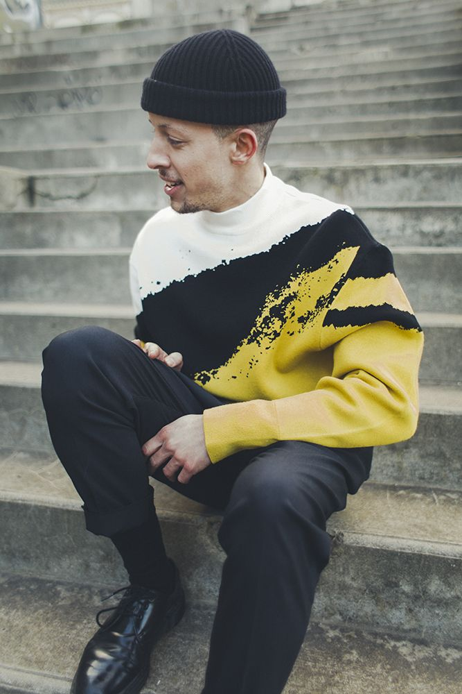 Samy Portejoie by Romain Pivétal | I really really hate the hat. Really hate it. The yellow, black, & white jumper is good though
