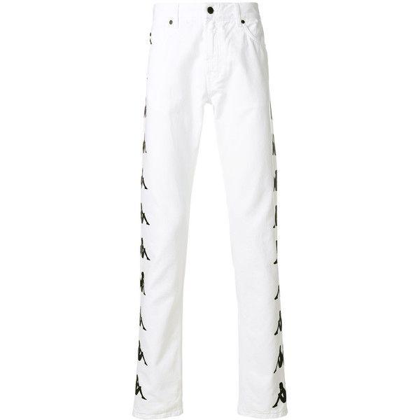 Paura Paura x Kappa Ali straight leg trousers (£225) ❤ liked on Polyvore featuring men's fashion, men's clothing, men's pants, men's casual pants, white, mens zip off pants, men's casual cotton pants, mens zipper pants, mens white pants and men's 5 pocket pants