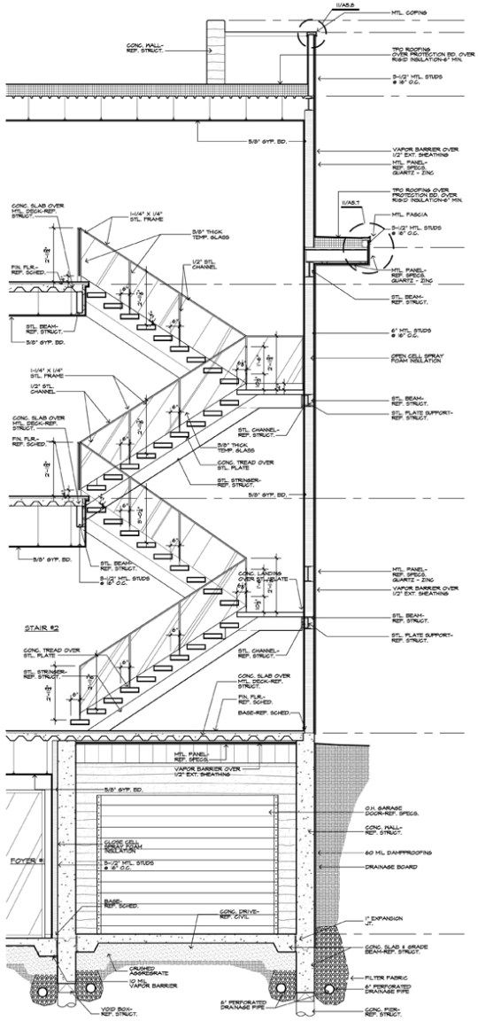 modern stair construction drawing and detail