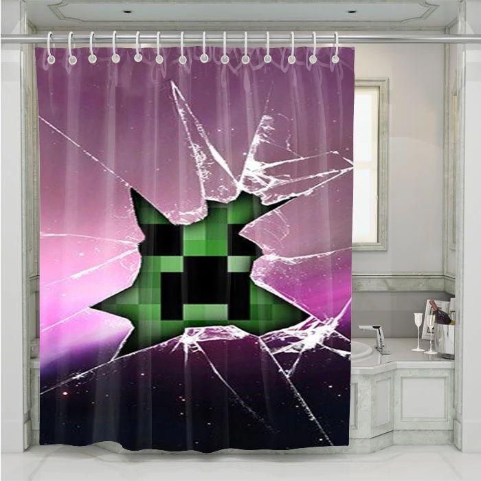 Creeper Minecraft Broken Glass Pink Shower Curtain At Pink