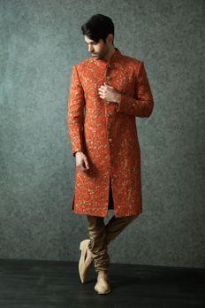 Sherwani embellished with heavy zardosi work from #Benzer #Benzerworld #Sherwani #Weddingwearformen