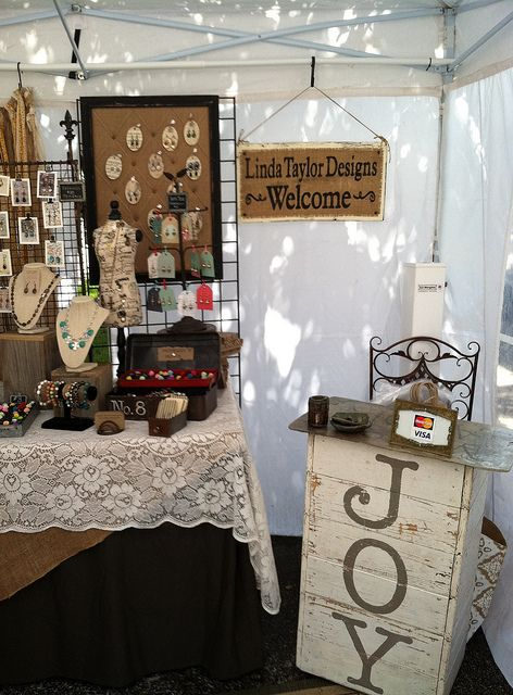 craft show booth.  wrapping/sales stand