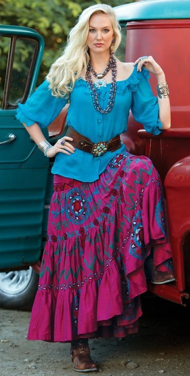 turquoise peasant shirt, pink and turquoise broomstick skirt