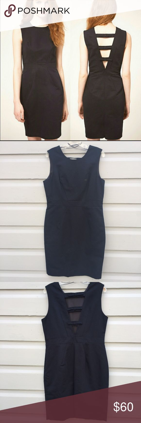 U.K. Whistles Nelly bow back dress Size large (size tag missing but roughly size 8-10) classic navy sheath dress. Back is exquisite with bow detail, sleeveless, fully lined, side zip. Nearly new condition. A favorite of Kate Middleton the style is effortless and timeless. Whistles Dresses Midi