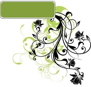 black silhouette floral art on green tag vector design elements