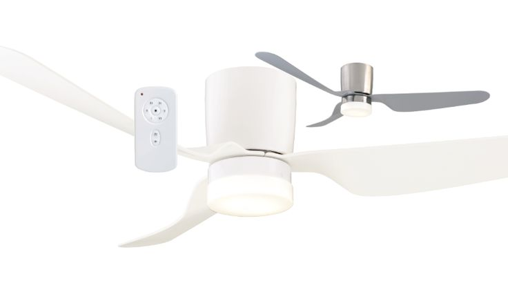 "Mercator+City+DC+LED+LOW+PROFILE+CTC+Ceiling+Fan+with+DIMMABLE+12w+LED+Light+&+Remote+-+52""+-+Brushed+Chrome+or+White+FC388133, $303.00"