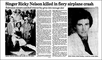 Ricky Nelson killed in a plane crash