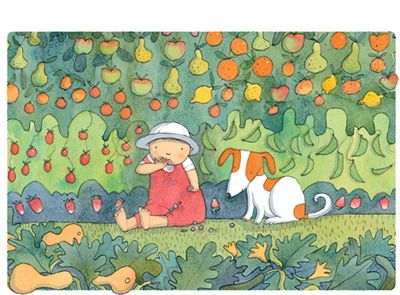 'Eat from the Garden', limited edition print by Alison Lester.  From picture book 'Kissed by the Moon' (Penguin Books).   Available at Books Illustrated.