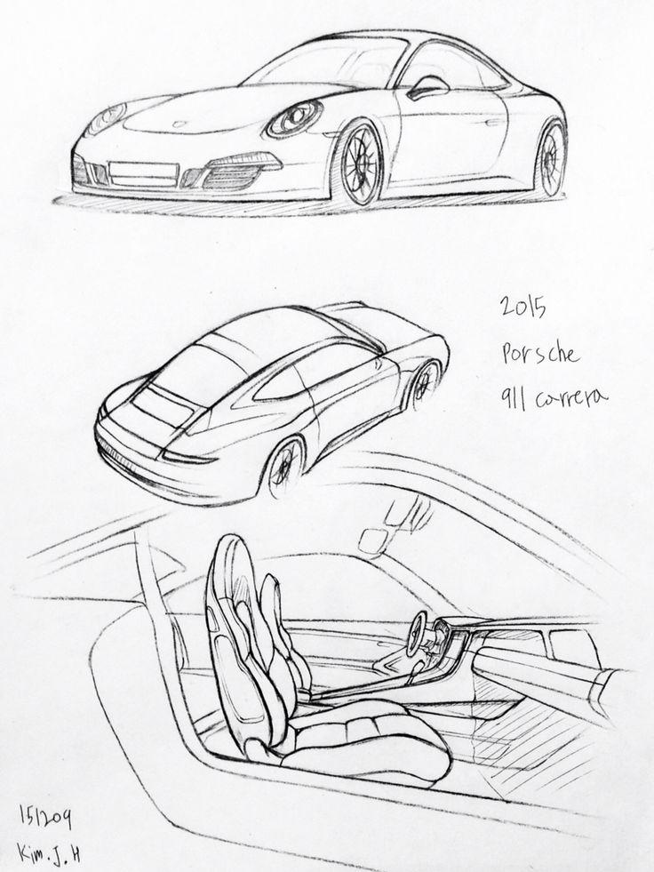 Car drawing 151209 2015 Porsche 911 Carera.   Prisma on paper.  Kim.J.H