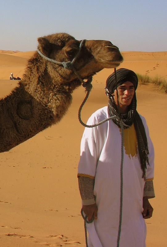 De Erg Chebbi woestijn ligt in het oosten van Marokko, vlakbij de grens met Algerije. De kamelen en dromedarissen krijgen een nummer getatoueerd in hun nek zodat ze herkenbaar zijn als Marokkaans.