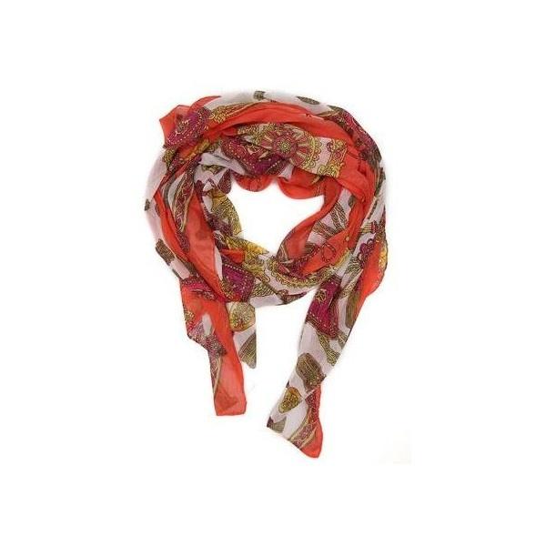 Oranžový šátek s ornamenty INVUU via Polyvore