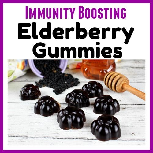 The best way to make it through the winter cold/flu season is by keeping your immune system strong. You can easily strengthen your system's sickness fighting abilities with these immunity boosting elderberry gummies! Homemade elderberry syrup recipe included!