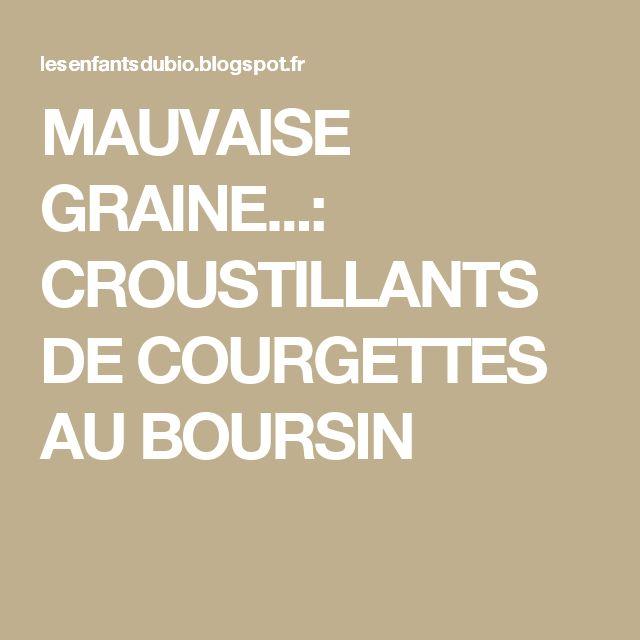 MAUVAISE GRAINE...: CROUSTILLANTS DE COURGETTES AU BOURSIN