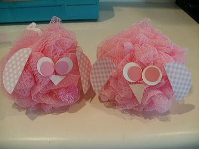 bath pouf owl- would be cute for a baby shower