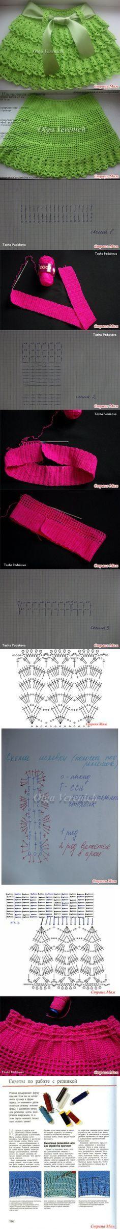 Saia de Olga Verenich Little girls ruffle skirt. Diagram of stitches