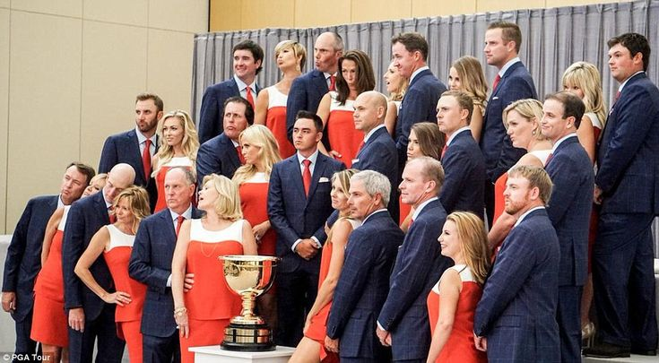 The US Presidents Cup team and WAGS make their 'Blue Steel' pose: (top row, from left) Bubba and Angie Watson, Matt and Sybi Kuchar, Jimmy and Erin Walker, Chris and Tahnee Kirk, Patrick and Justine Reed; (middle row from left) Dustin Johnson and Paulina Gretzky, Phil and Amy Mickelson, Rickie Fowler, Bill Haas, Jordan Spieth and Annie Verret, Zach and Kim Johnson (bottom row, from left) Davis Love III and wife Robin, Jim and Tabitha Furyk, Jay and Jan Haas, Fred Couples and Nadine Moze…