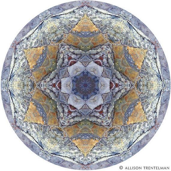 "Mandala Art - Abstract Nature Print - Geometric Art Print - Peaceful Round Art - Fine Art Print in Slate Blue & Orange - ""Mandala No. 194"""