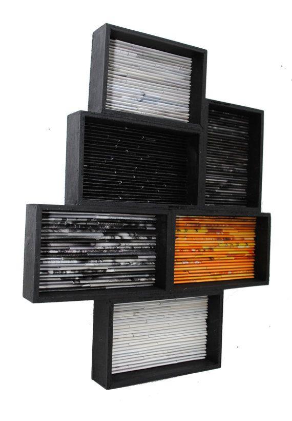Arte moderno  de revistas recicladas plazas por colorstorydesigns                                                                                                                                                                                 Más                                                                                                                                                                                 Más