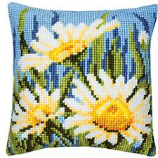 "Vervaco DAISIES 141 Chunky Cross Stitch Cushion Front Kit 16"" X 16"""
