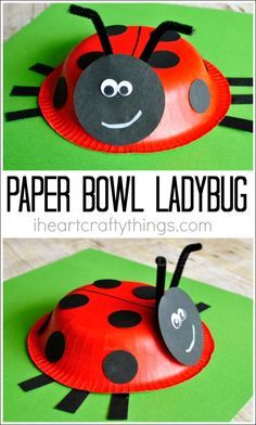 Paper bowl ladybug craft for kids, perfect for a spring kids craft or for learning all about insects.